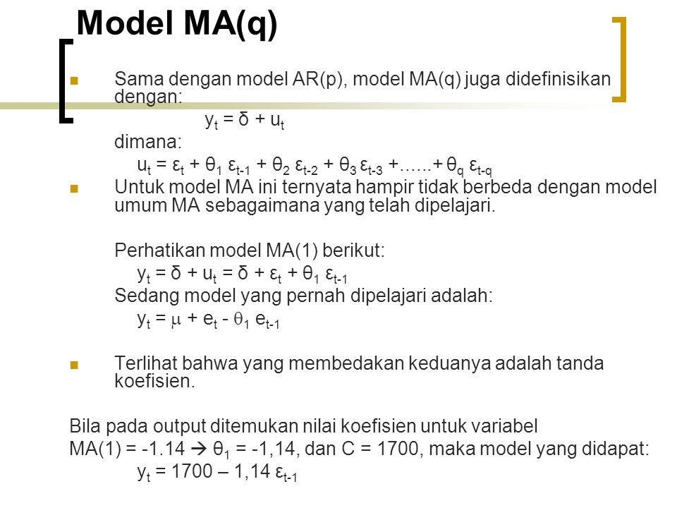 Model MA(q) Sama dengan model AR(p), model MA(q) juga didefinisikan dengan: yt = δ + ut. dimana:
