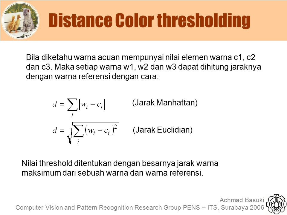 Distance Color thresholding