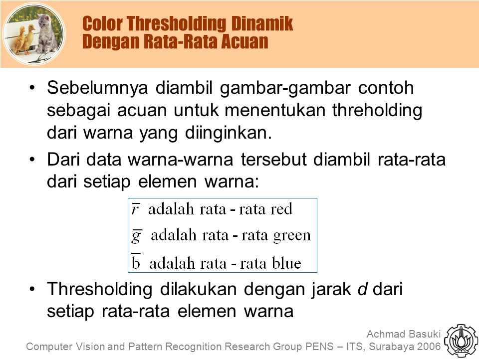Color Thresholding Dinamik Dengan Rata-Rata Acuan