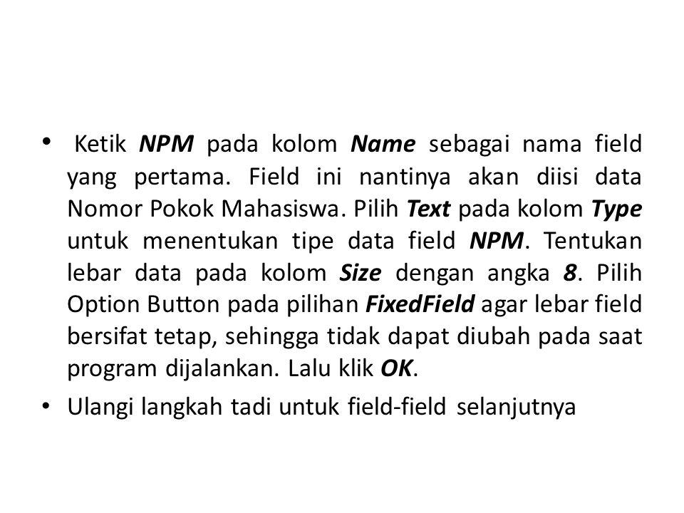Ketik NPM pada kolom Name sebagai nama field yang pertama