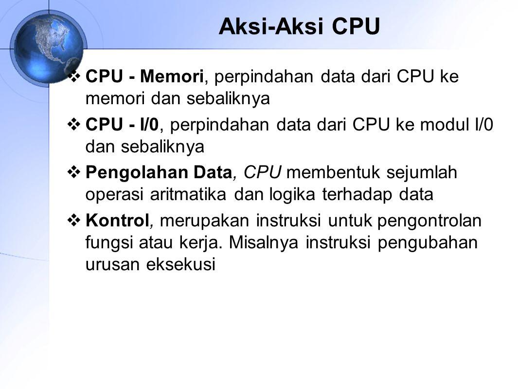 Aksi-Aksi CPU CPU ‑ Memori, perpindahan data dari CPU ke memori dan sebaliknya. CPU - I/0, perpindahan data dari CPU ke modul I/0 dan sebaliknya.