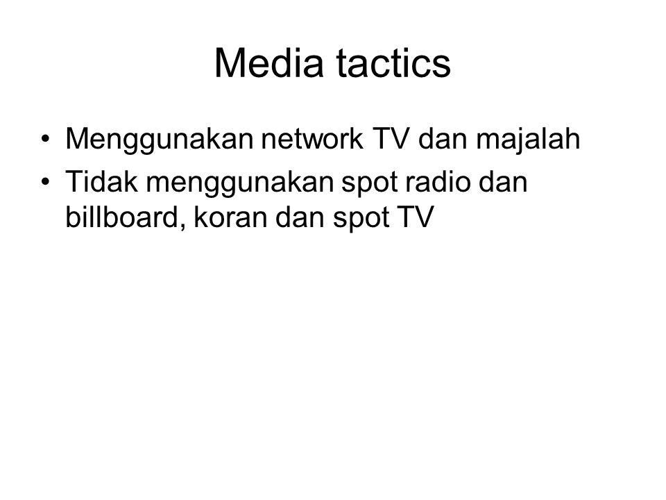 Media tactics Menggunakan network TV dan majalah