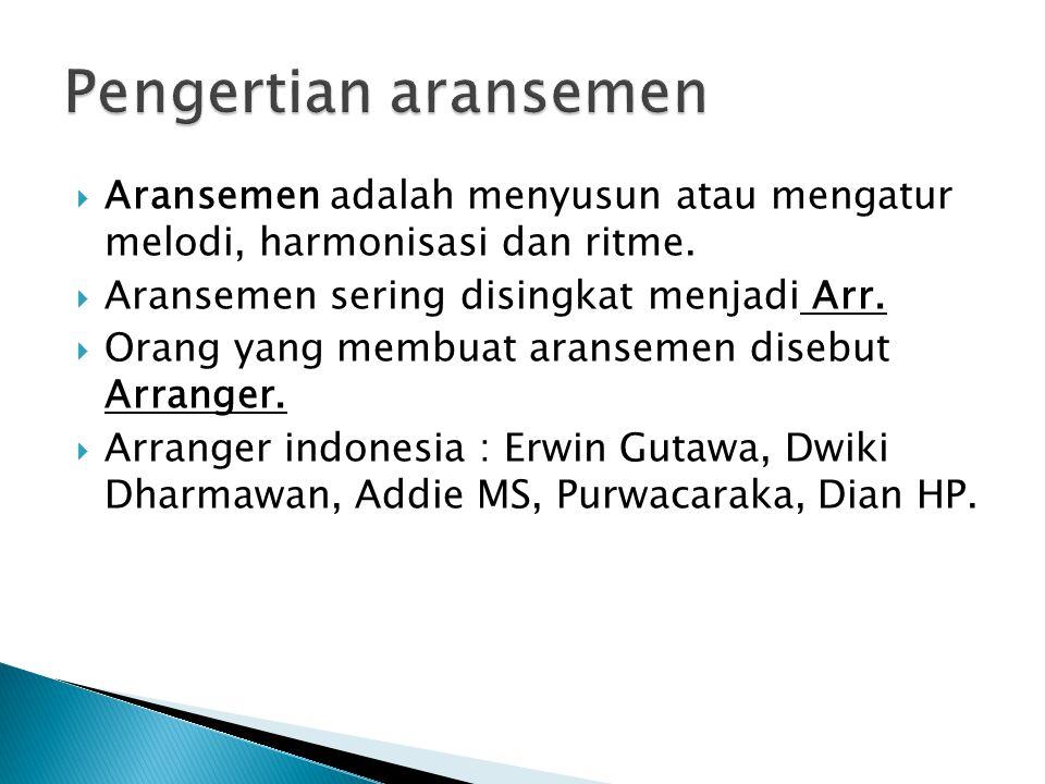 Pengertian aransemen Aransemen adalah menyusun atau mengatur melodi, harmonisasi dan ritme. Aransemen sering disingkat menjadi Arr.