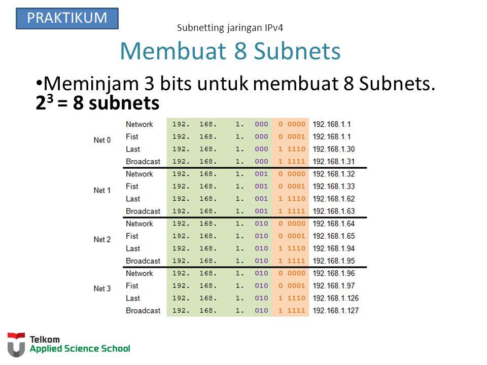 Subnetting jaringan IPv4 Membuat 8 Subnets