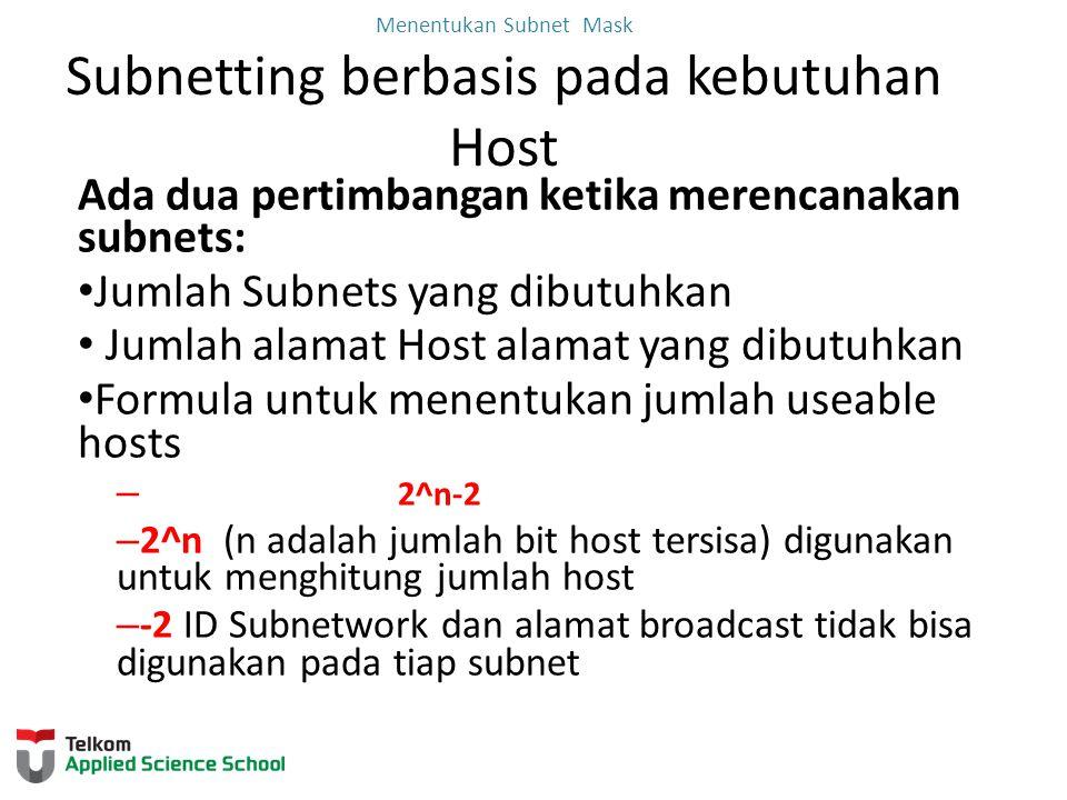 Menentukan Subnet Mask Subnetting berbasis pada kebutuhan Host