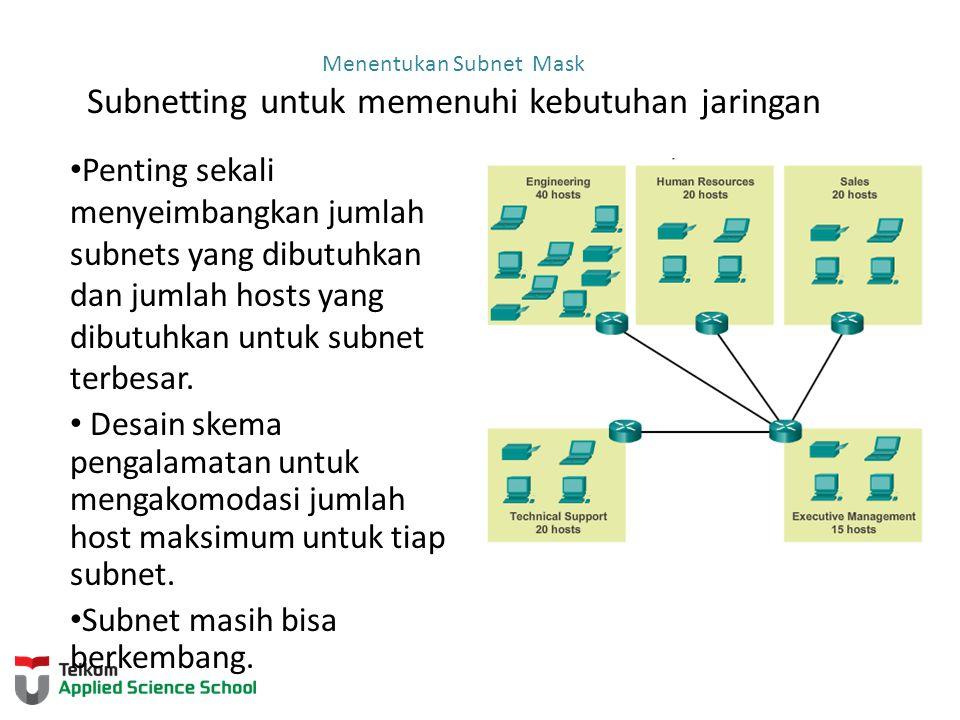 Menentukan Subnet Mask Subnetting untuk memenuhi kebutuhan jaringan