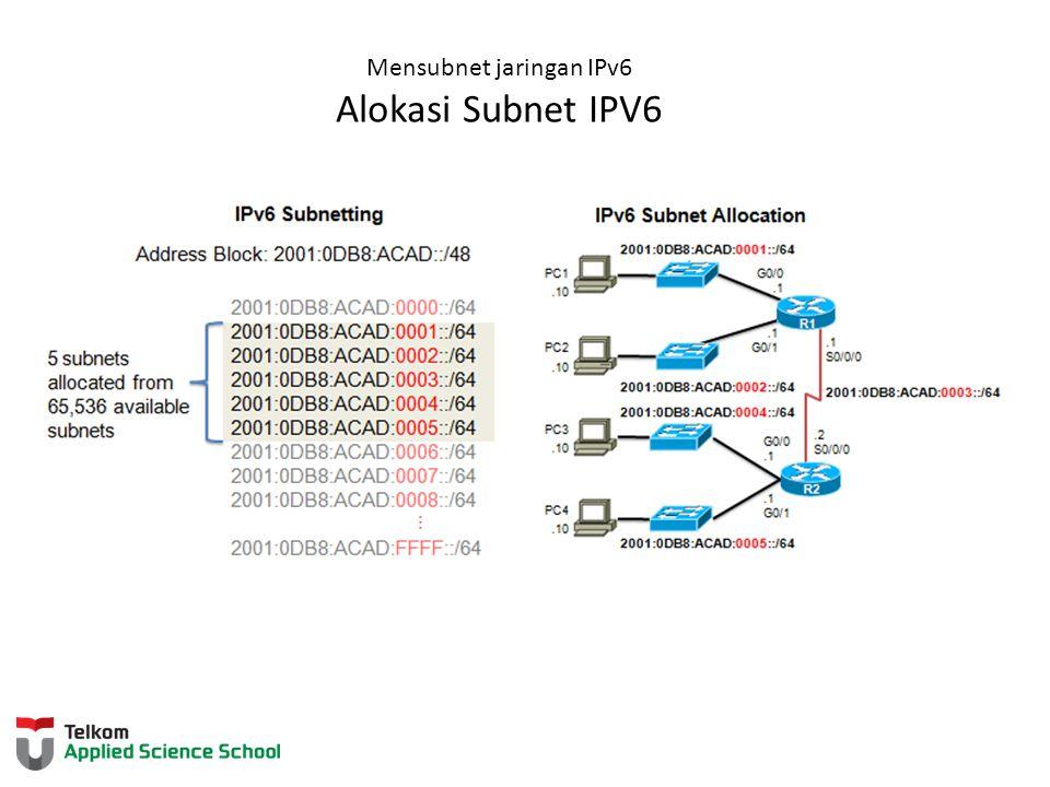 Mensubnet jaringan IPv6 Alokasi Subnet IPV6