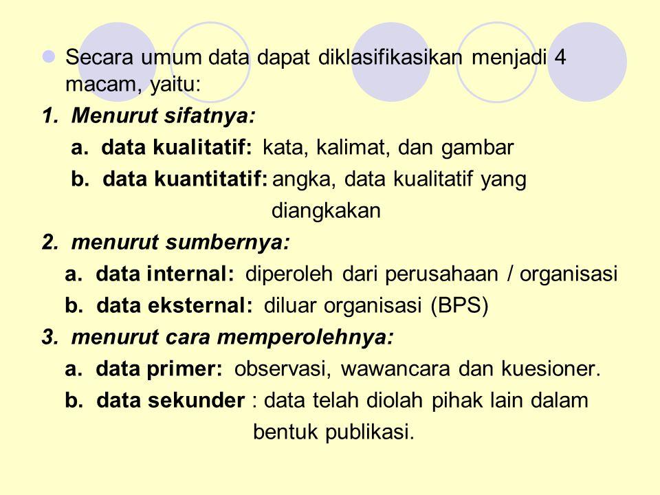 Secara umum data dapat diklasifikasikan menjadi 4 macam, yaitu: