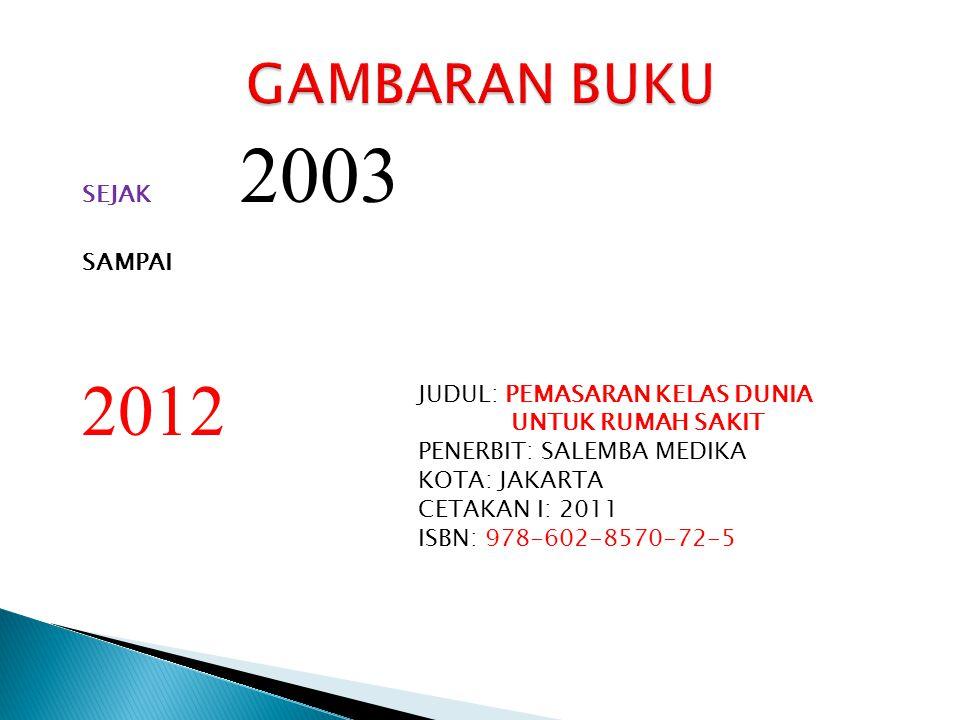 2012 GAMBARAN BUKU SEJAK 2003 SAMPAI JUDUL: PEMASARAN KELAS DUNIA
