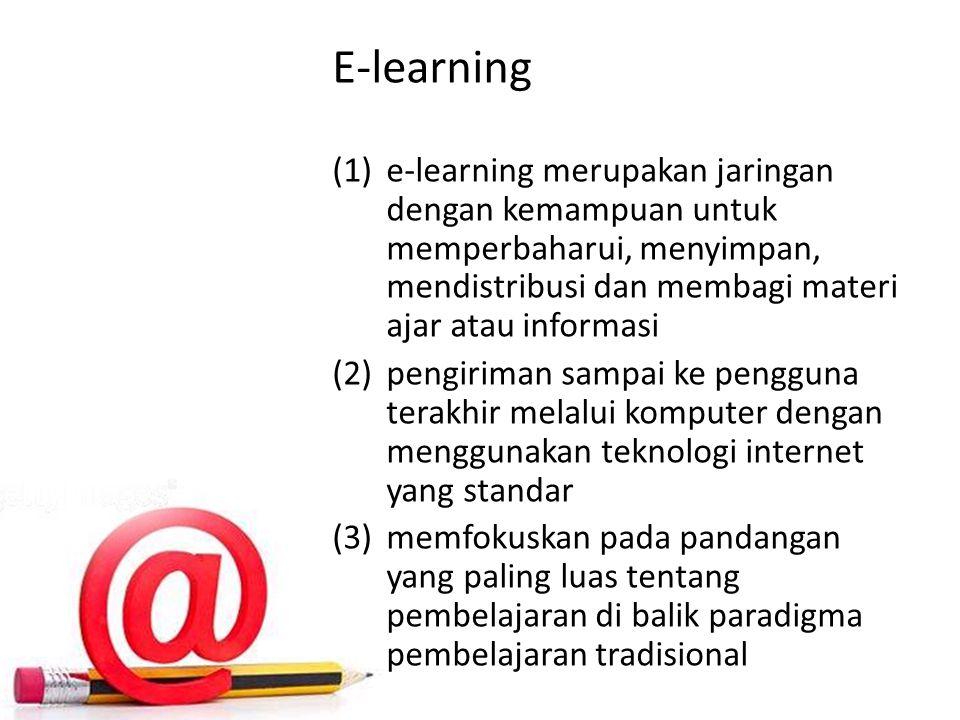 E-learning e-learning merupakan jaringan dengan kemampuan untuk memperbaharui, menyimpan, mendistribusi dan membagi materi ajar atau informasi.