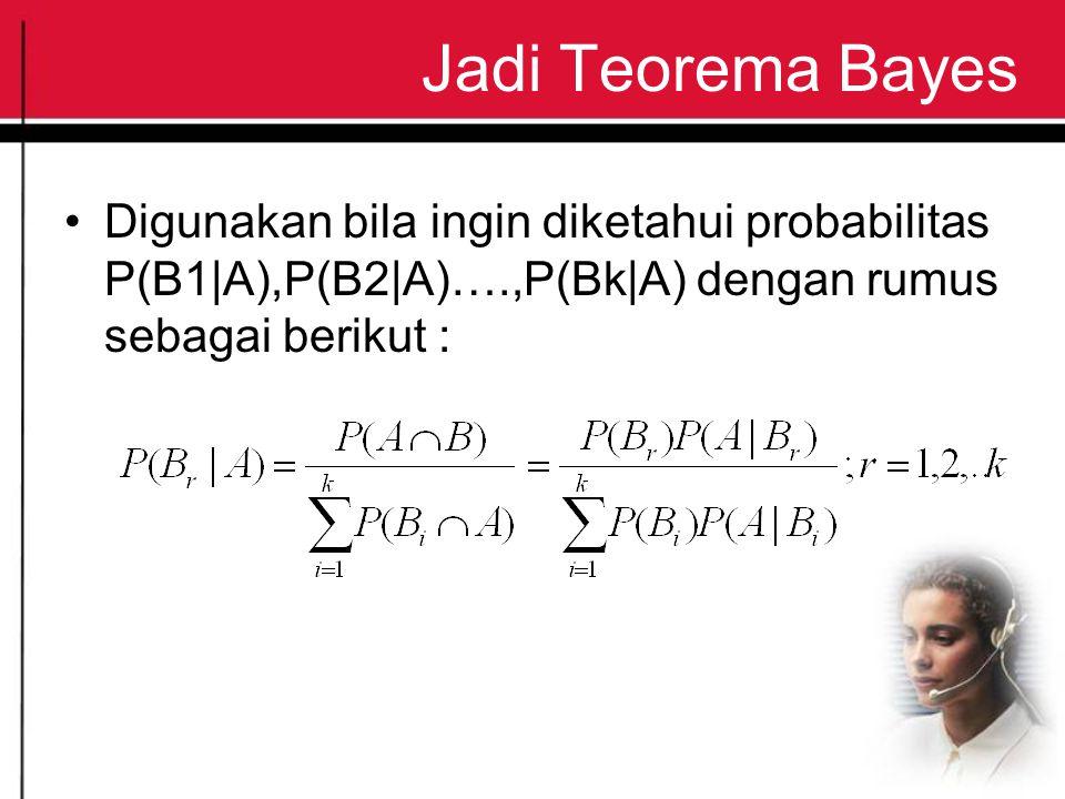 Jadi Teorema Bayes Digunakan bila ingin diketahui probabilitas P(B1|A),P(B2|A)….,P(Bk|A) dengan rumus sebagai berikut :