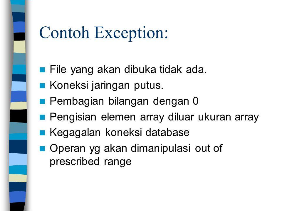 Contoh Exception: File yang akan dibuka tidak ada.
