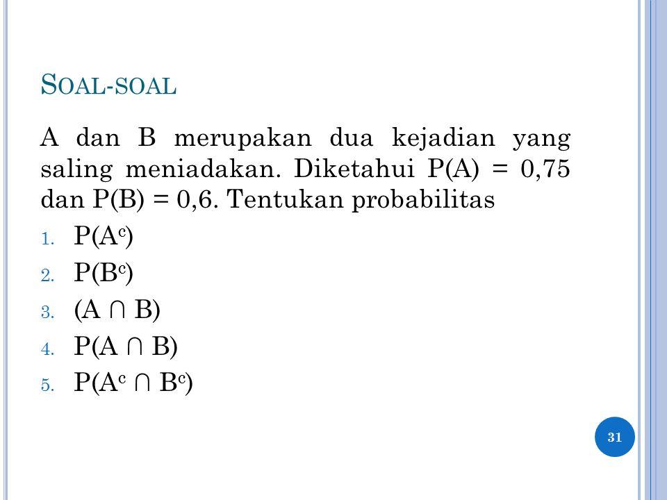 Soal-soal A dan B merupakan dua kejadian yang saling meniadakan. Diketahui P(A) = 0,75 dan P(B) = 0,6. Tentukan probabilitas.