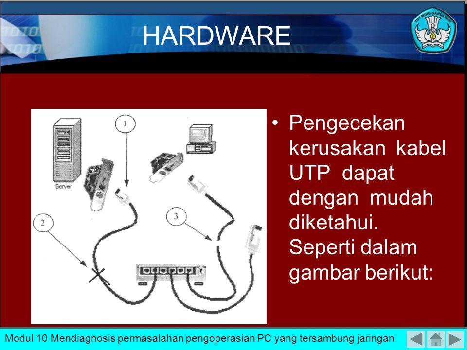 HARDWARE Pengecekan kerusakan kabel UTP dapat dengan mudah diketahui. Seperti dalam gambar berikut: