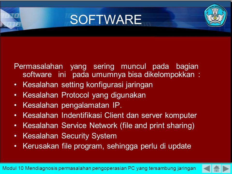 SOFTWARE Permasalahan yang sering muncul pada bagian software ini pada umumnya bisa dikelompokkan :