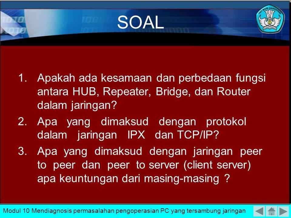 SOAL Apakah ada kesamaan dan perbedaan fungsi antara HUB, Repeater, Bridge, dan Router dalam jaringan