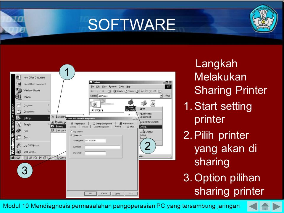 SOFTWARE Langkah Melakukan Sharing Printer 1 Start setting printer