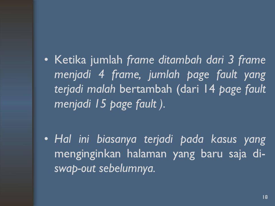 Ketika jumlah frame ditambah dari 3 frame menjadi 4 frame, jumlah page fault yang terjadi malah bertambah (dari 14 page fault menjadi 15 page fault ).