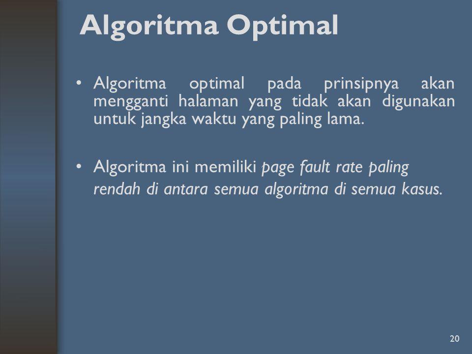 Algoritma Optimal Algoritma optimal pada prinsipnya akan mengganti halaman yang tidak akan digunakan untuk jangka waktu yang paling lama.