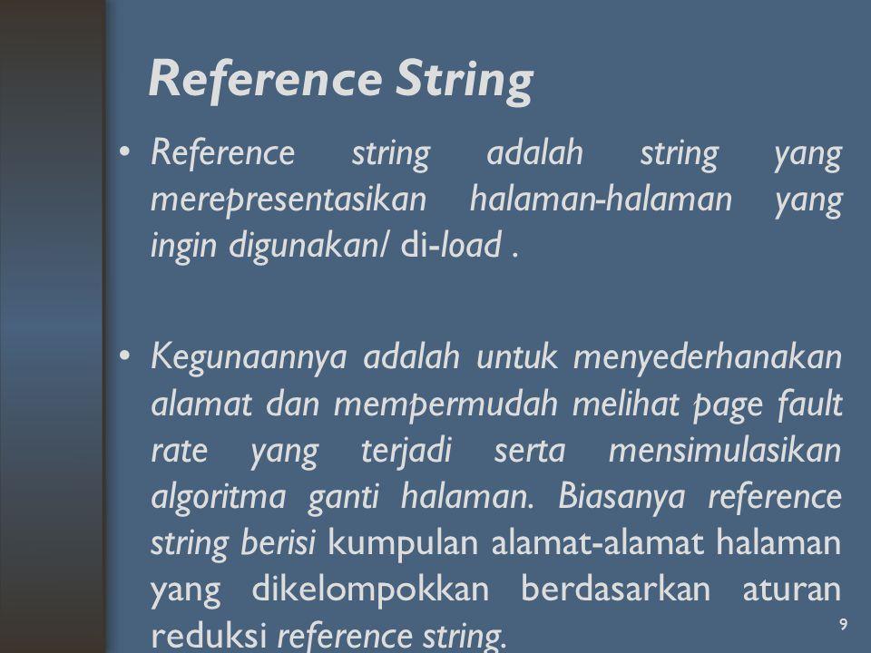 Reference String Reference string adalah string yang merepresentasikan halaman-halaman yang ingin digunakan/ di-load .