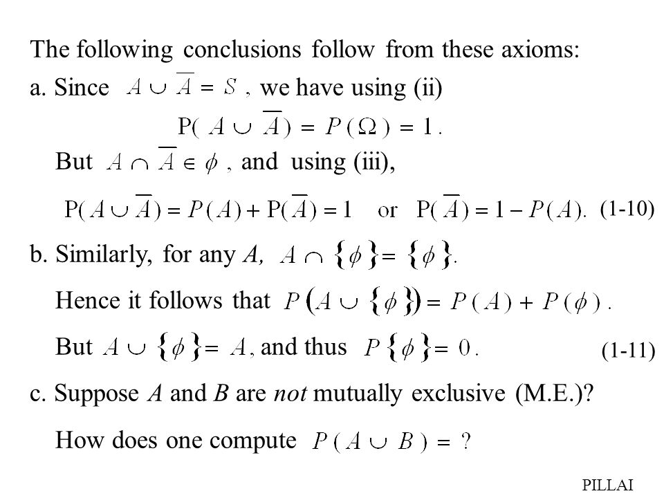 The following conclusions follow from these axioms: