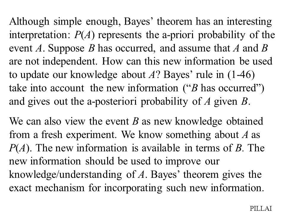 Although simple enough, Bayes' theorem has an interesting interpretation: P(A) represents the a-priori probability of the event A. Suppose B has occurred, and assume that A and B are not independent. How can this new information be used to update our knowledge about A Bayes' rule in (1-46) take into account the new information ( B has occurred ) and gives out the a-posteriori probability of A given B.