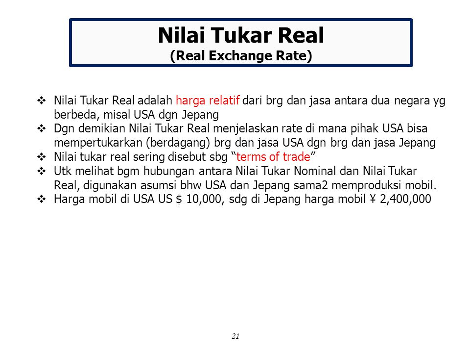 Nilai Tukar Real (Real Exchange Rate)