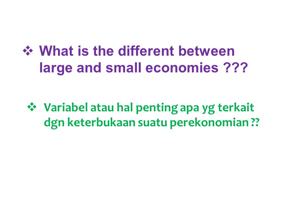What is the different between large and small economies