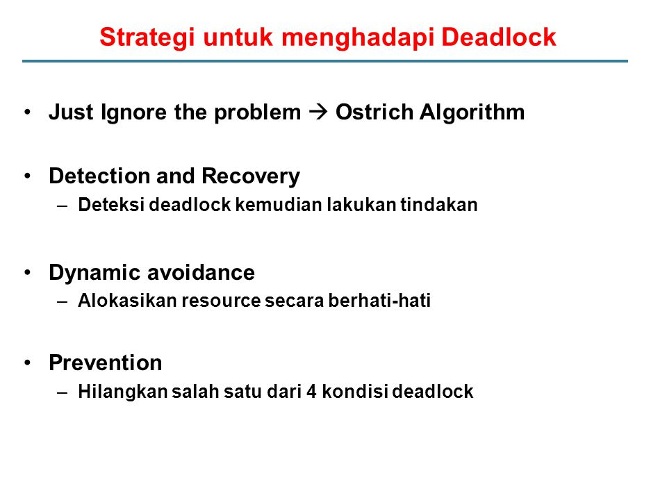 Strategi untuk menghadapi Deadlock