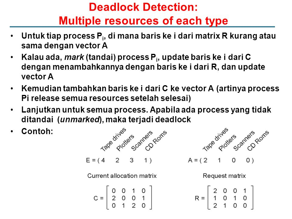 Deadlock Detection: Multiple resources of each type