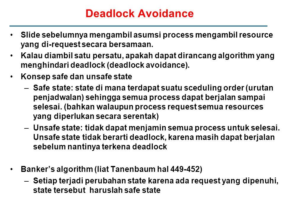 Deadlock Avoidance Slide sebelumnya mengambil asumsi process mengambil resource yang di-request secara bersamaan.