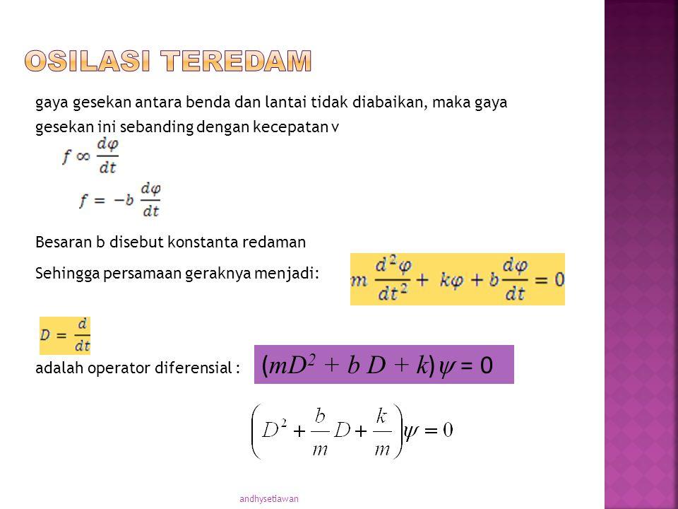 OSILASI TEREDAM (mD2 + b D + k) = 0