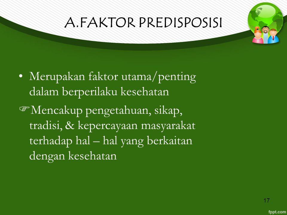 A.FAKTOR PREDISPOSISI Merupakan faktor utama/penting dalam berperilaku kesehatan.