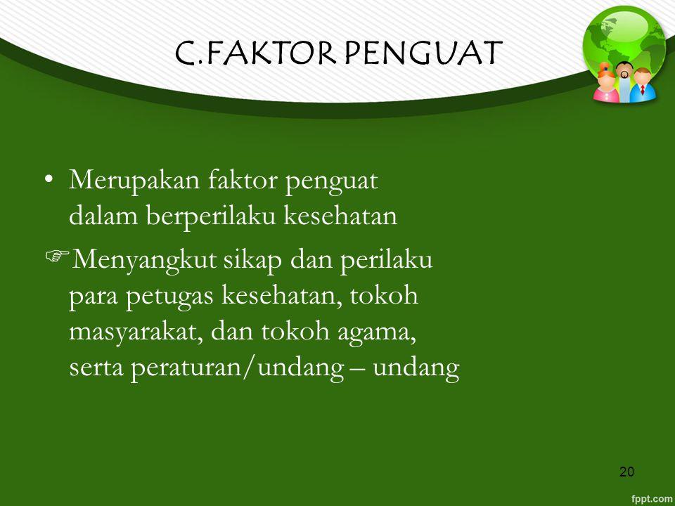 C.FAKTOR PENGUAT Merupakan faktor penguat dalam berperilaku kesehatan