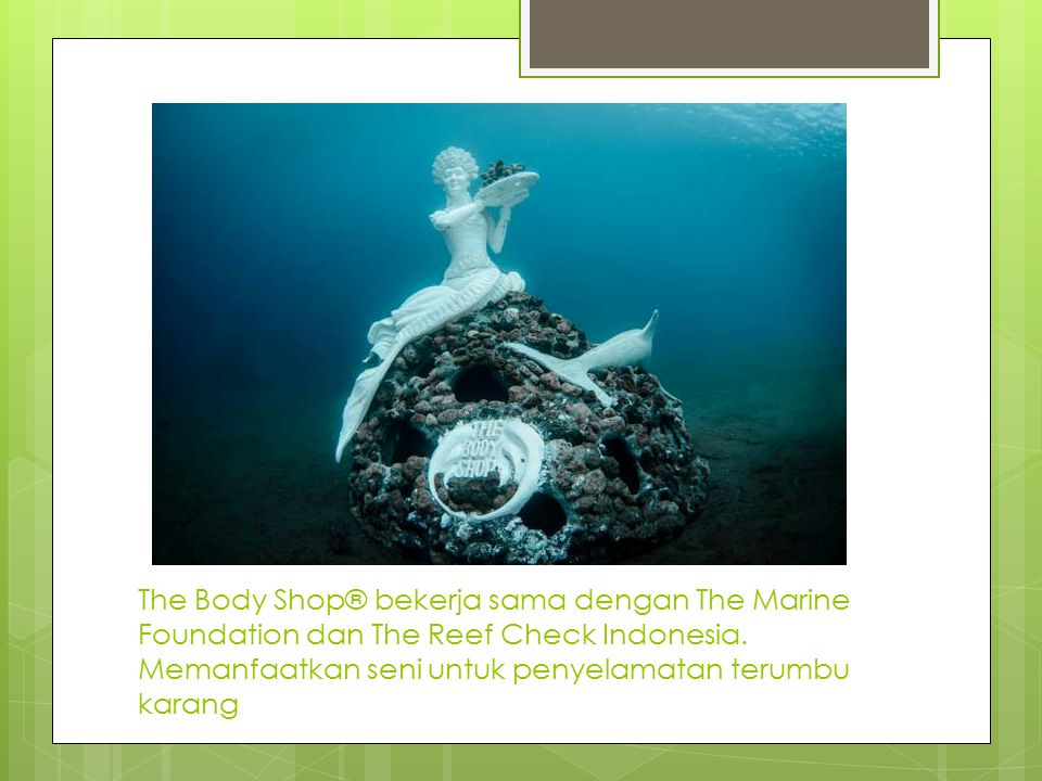 The Body Shop® bekerja sama dengan The Marine Foundation dan The Reef Check Indonesia.