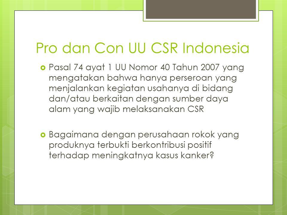 Pro dan Con UU CSR Indonesia