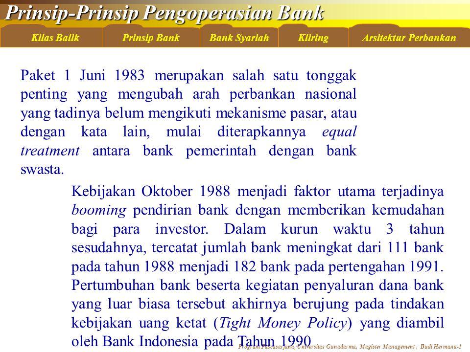 Paket 1 Juni 1983 merupakan salah satu tonggak penting yang mengubah arah perbankan nasional yang tadinya belum mengikuti mekanisme pasar, atau dengan kata lain, mulai diterapkannya equal treatment antara bank pemerintah dengan bank swasta.