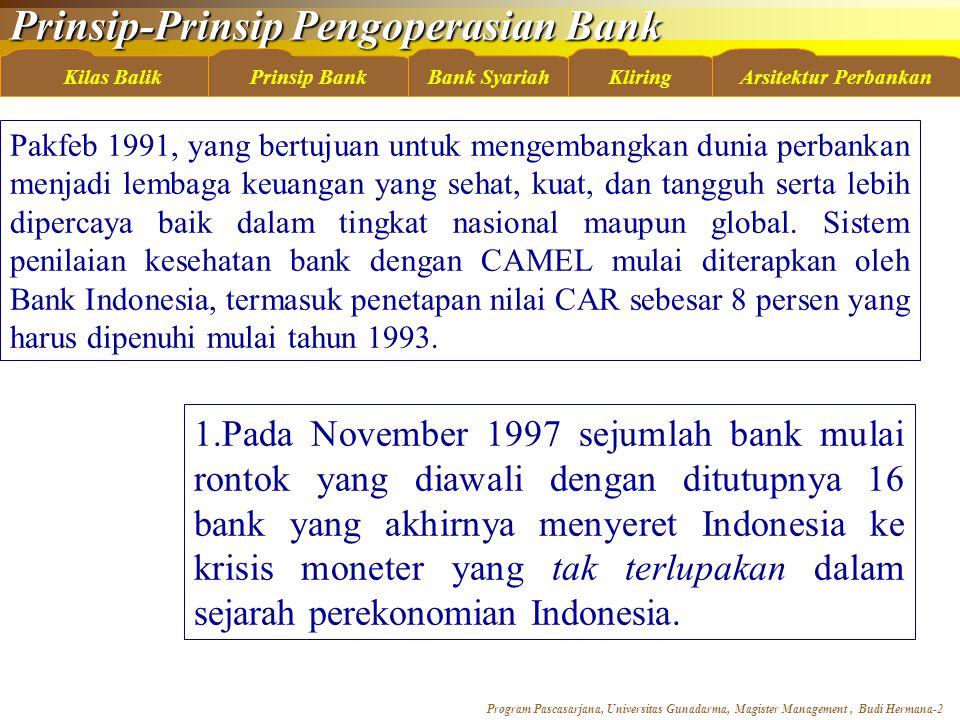 Pakfeb 1991, yang bertujuan untuk mengembangkan dunia perbankan menjadi lembaga keuangan yang sehat, kuat, dan tangguh serta lebih dipercaya baik dalam tingkat nasional maupun global. Sistem penilaian kesehatan bank dengan CAMEL mulai diterapkan oleh Bank Indonesia, termasuk penetapan nilai CAR sebesar 8 persen yang harus dipenuhi mulai tahun 1993.