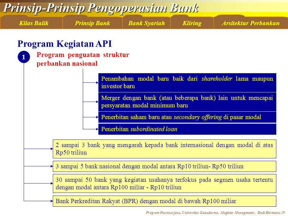 Program Kegiatan API Program penguatan struktur perbankan nasional 1