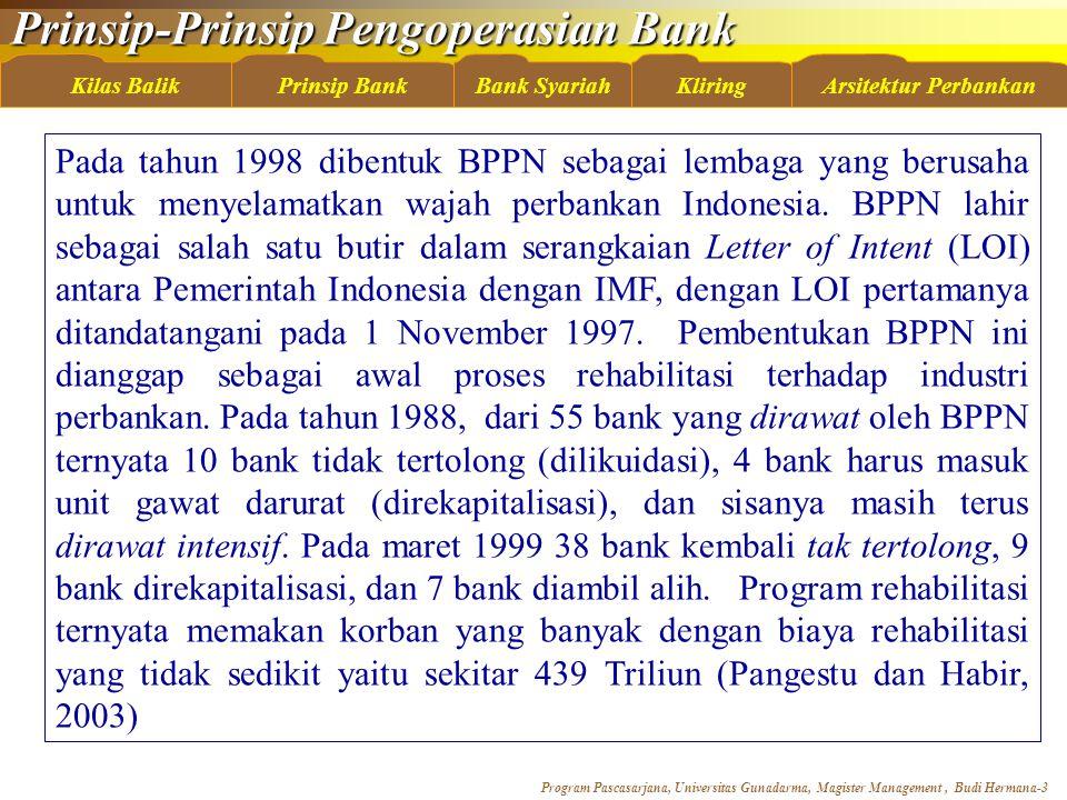 Pada tahun 1998 dibentuk BPPN sebagai lembaga yang berusaha untuk menyelamatkan wajah perbankan Indonesia.