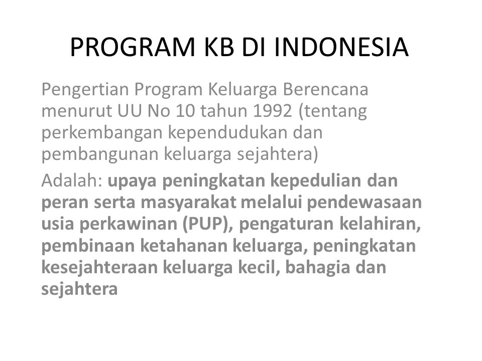 PROGRAM KB DI INDONESIA