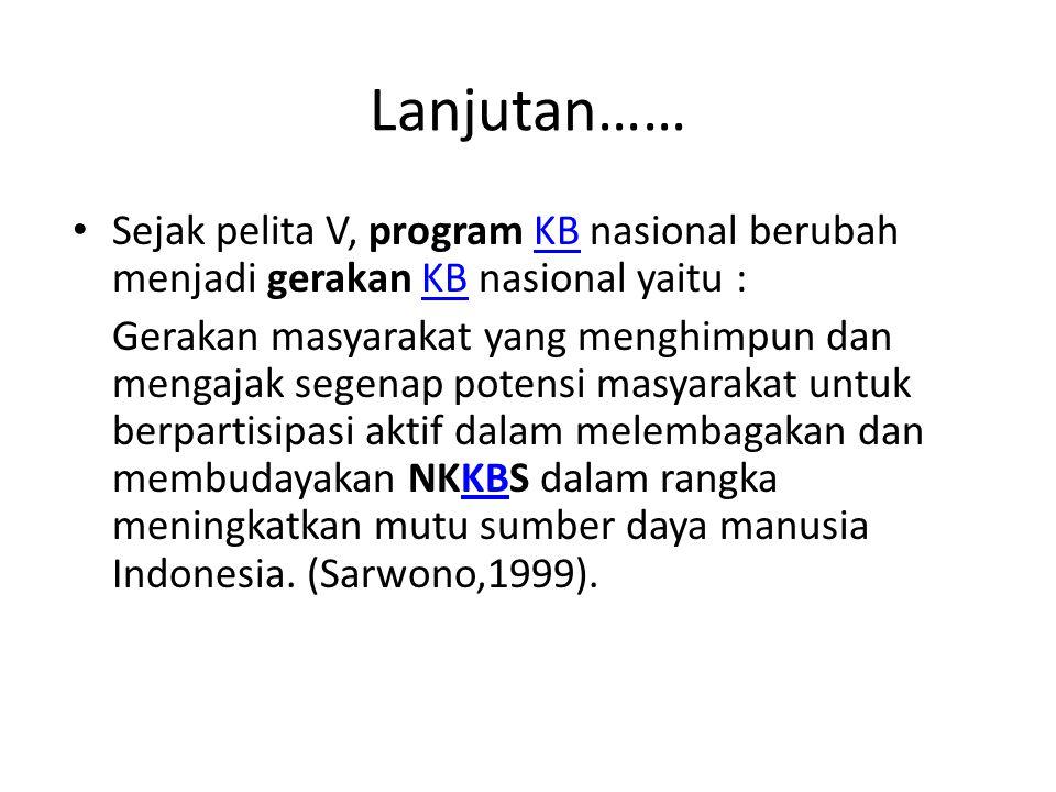 Lanjutan…… Sejak pelita V, program KB nasional berubah menjadi gerakan KB nasional yaitu :