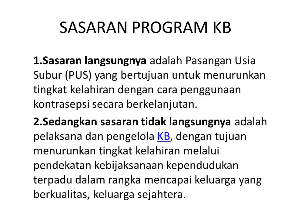 SASARAN PROGRAM KB
