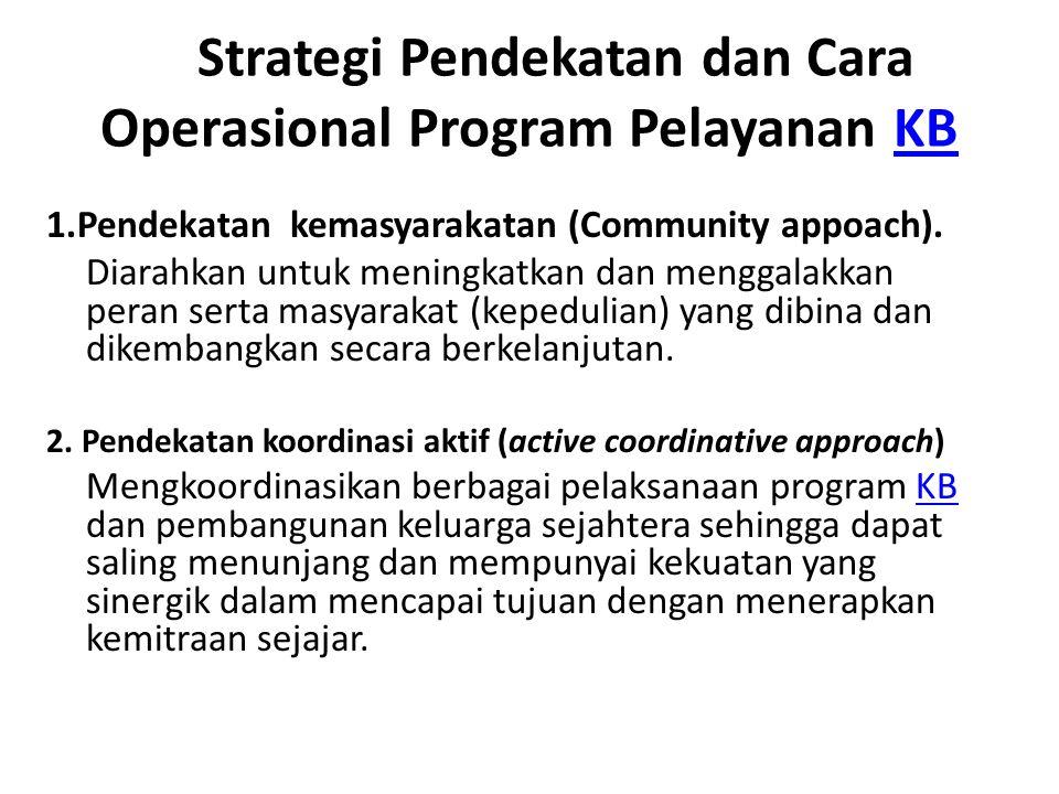 Strategi Pendekatan dan Cara Operasional Program Pelayanan KB