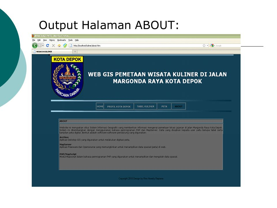Output Halaman ABOUT: