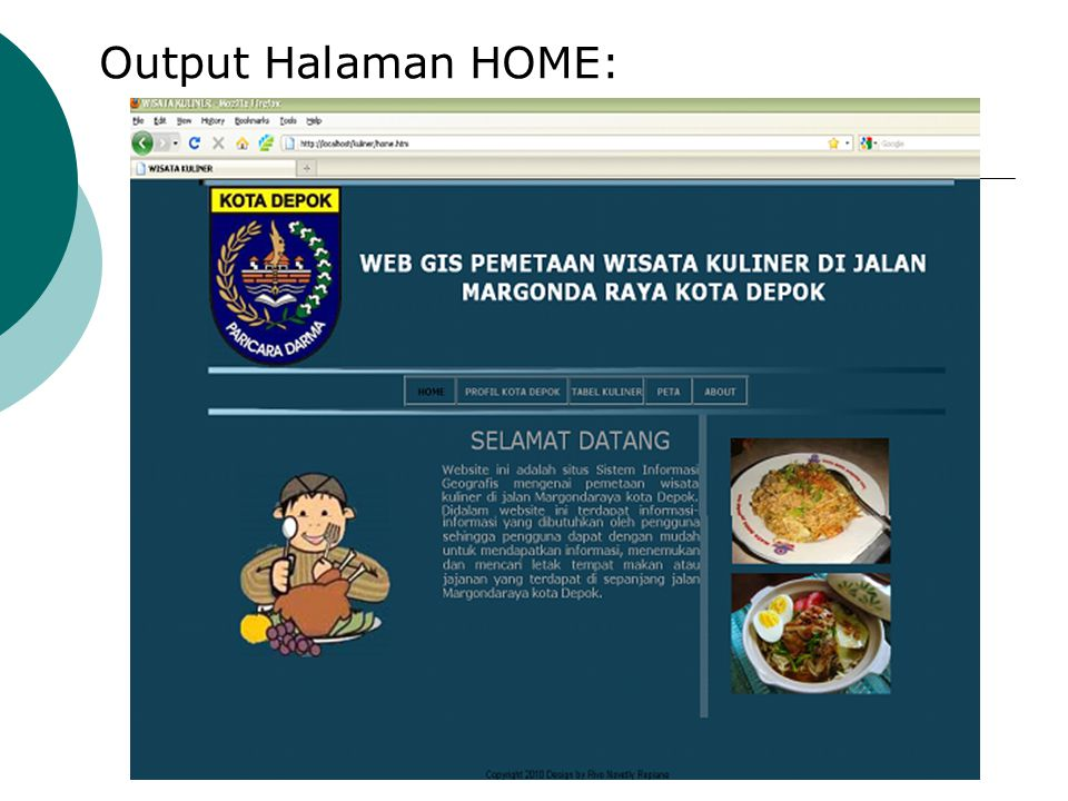 Output Halaman HOME: