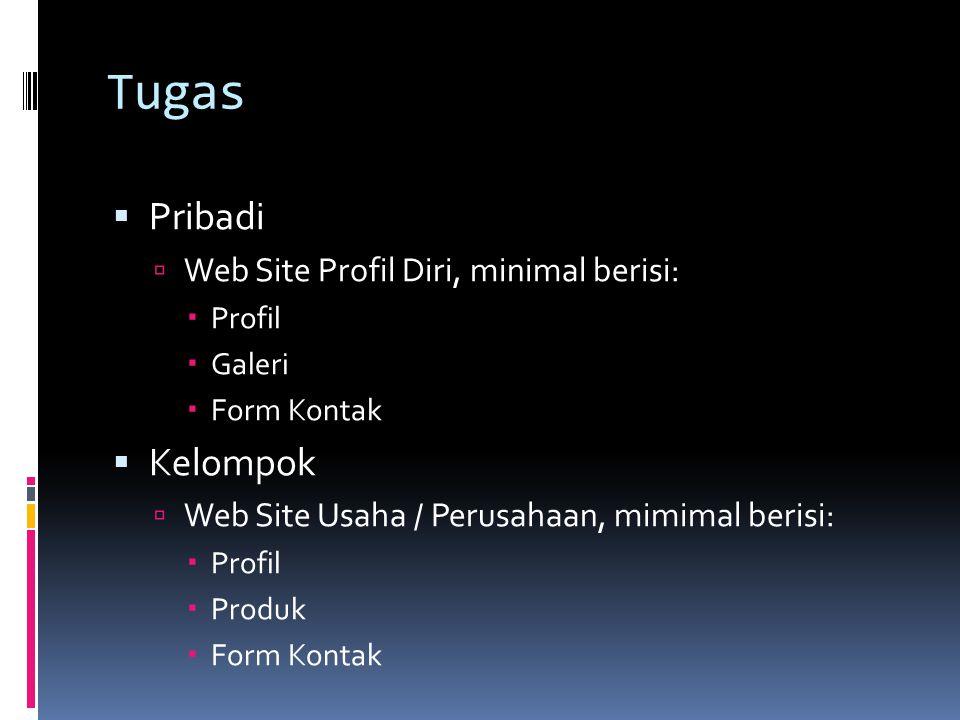 Tugas Pribadi Kelompok Web Site Profil Diri, minimal berisi:
