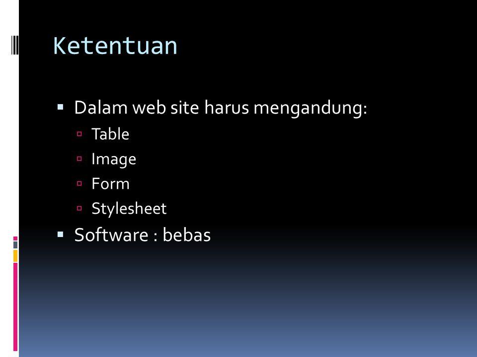 Ketentuan Dalam web site harus mengandung: Software : bebas Table