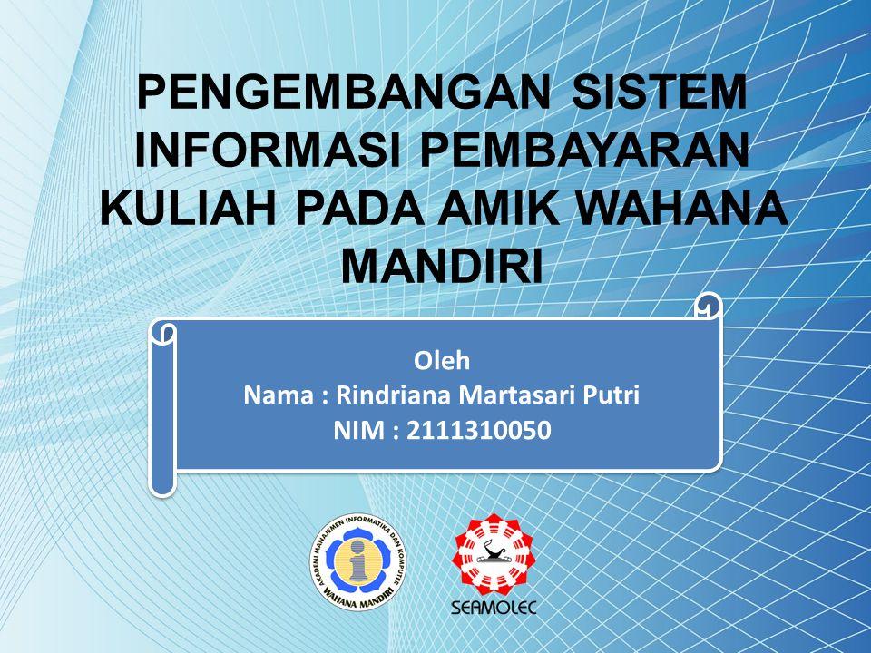 Oleh Nama : Rindriana Martasari Putri NIM : 2111310050