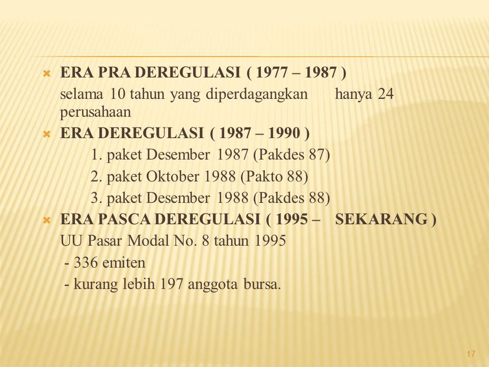 ERA PRA DEREGULASI ( 1977 – 1987 ) selama 10 tahun yang diperdagangkan hanya 24 perusahaan. ERA DEREGULASI ( 1987 – 1990 )